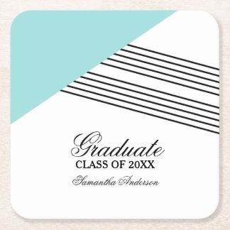 Aqua Geometric Stripe Graduation Coasters