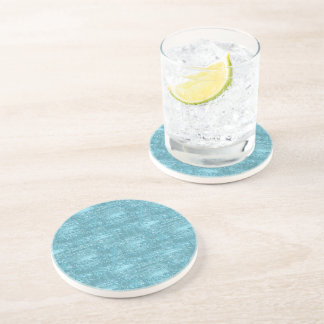 Aqua Glam Faux Glitter Stripes Coasters