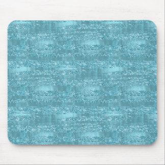Aqua Glam Faux Glitter Stripes Mouse Pad