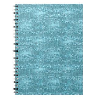 Aqua Glam Faux Glitter Stripes Notebook