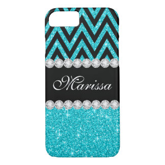 Aqua Glitter Black Chevron Case-Mate iPhone 7 Case