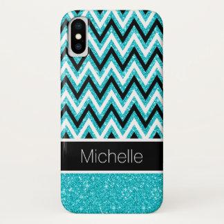 Aqua Glitter Black Chevron Case-Mate iPhone X Case
