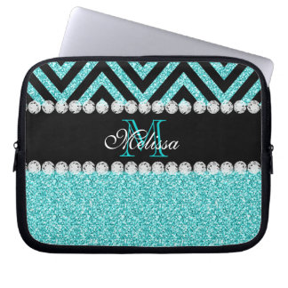 AQUA GLITTER BLACK CHEVRON MONOGRAM LAPTOP COMPUTER SLEEVES