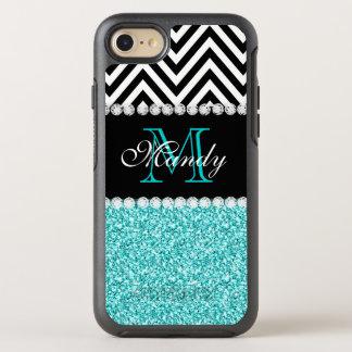 Aqua Glitter Black Chevron Monogrammed Custom OtterBox Symmetry iPhone 8/7 Case