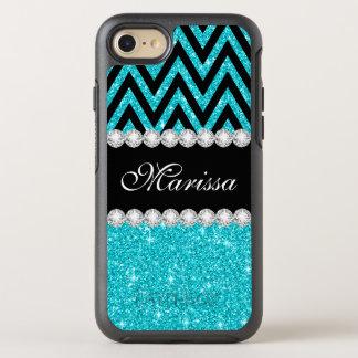 Aqua Glitter Black Chevron Stripe OtterBox Symmetry iPhone 8/7 Case