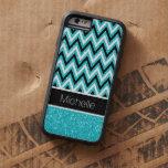 Aqua Glitter Black Chevron Xtreme iPhone 6 Case