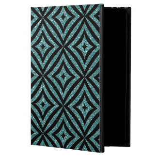 Aqua Glitter Black Pattern Girly iPad Case