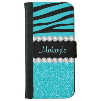 Aqua Glitter Black Zebra iPhone 6 Wallet Case