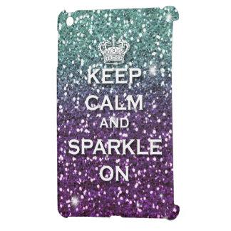 Aqua Glitter Keep Calm & Sparkle on Ipad Mini case