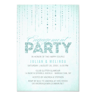 "Aqua Glitter Look Engagement Party Invitation 5"" X 7"" Invitation Card"