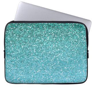 Aqua Glitter Ombre Laptop Computer Sleeve