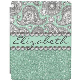 Aqua Glitter Paisley Rhinestone Print Pattern iPad Cover