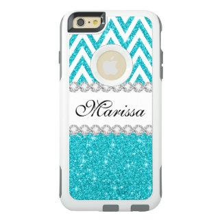 Aqua Glitter White Chevron OtterBox iPhone 6 Case