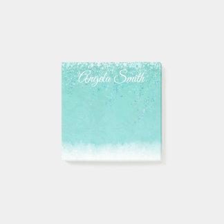 Aqua Glittery Fallen Snow Personalized Post It Post-it Notes