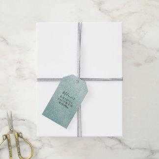 Aqua Glitz Ombre Bridal Shower Gift Tags