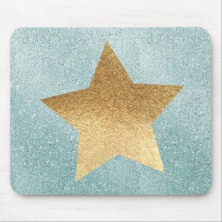 Aqua Glitzy Ombre Gold Star Mouse Pad