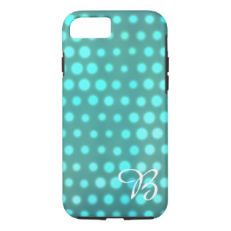 Aqua glow blue dots monogrammed Case-Mate iPhone case