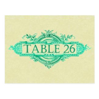 Aqua Glow Vintage Wedding Reception Table Numbers Postcard
