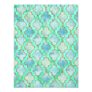 Aqua gold and Green Maroccan pattern Card