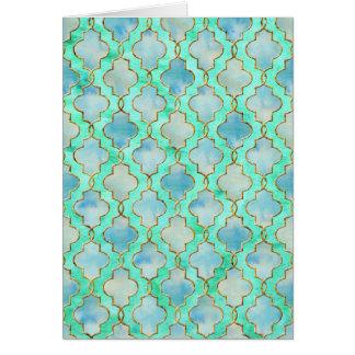 Aqua gold and Green Maroccan pattern Card