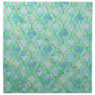 Aqua gold and Green Maroccan pattern Napkin
