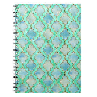 Aqua gold and Green Maroccan pattern Notebook