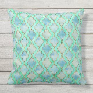 Aqua gold and Green Maroccan pattern Throw Pillow