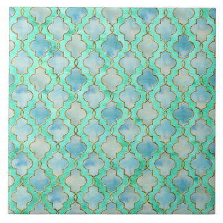 Aqua gold and Green Maroccan pattern Tile