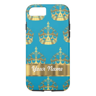 Aqua & gold crown pattern iPhone 7 case