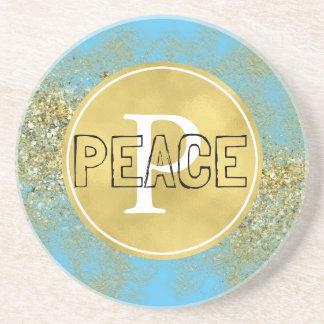 Aqua Gold Faux Glitter Peace Monogram Coaster