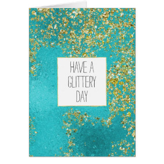 Aqua Gold Faux Sparkly Glitter Card