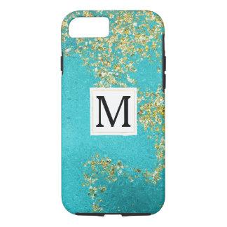 Aqua Gold Faux Sparkly Glitter Monogram iPhone 8/7 Case