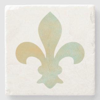 Aqua Gold French Fleur de Lis Stone Coaster