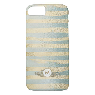 Aqua & Gold Glitter Stripes Monogram Case for Her