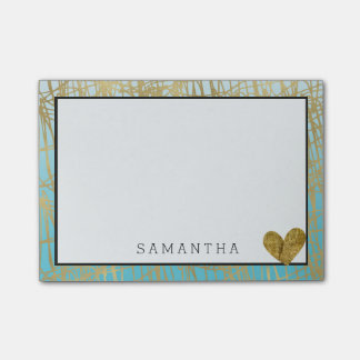 Aqua Gold Ombre Abstract Post-it Notes