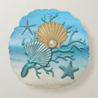 Aqua & Gold Seashells Beach Round Pillow