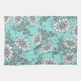 Aqua Gray Floral Kitchen Cloth Towel