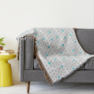 Aqua & Gray Graphic Throw Blanket