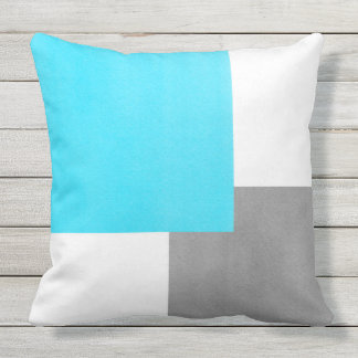 Aqua Gray White Geometric Block Outdoor Pillow