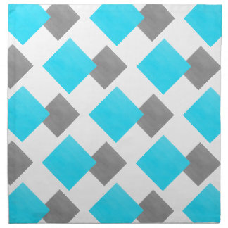Aqua Gray White Geometric Pattern Napkin