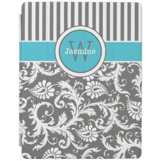 Aqua Gray White Stripes, Damask iPad 2/3/4 Cover iPad Cover