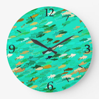 Aqua, green and gold swimming fish wallclocks