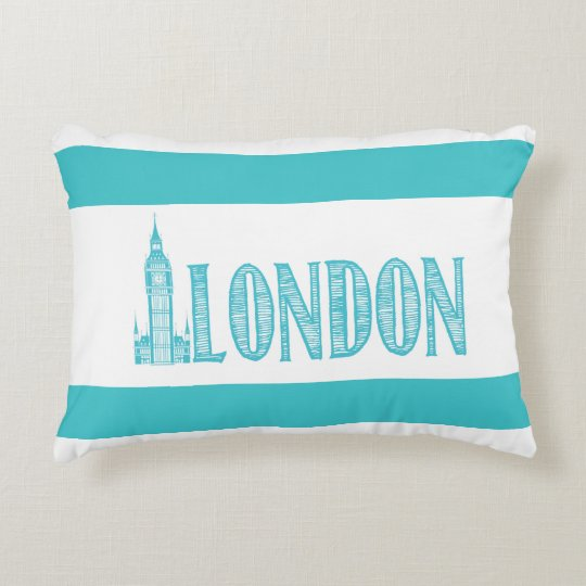 Aqua Green and White, London Accent Pillow