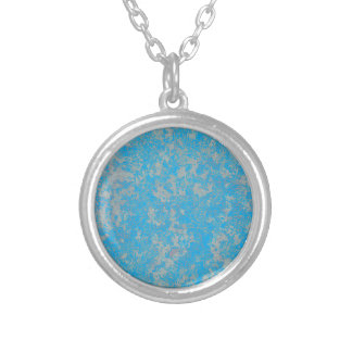 Aqua Green Background Silver Plated Necklace