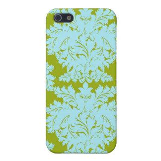 Aqua Green Damask i iPhone 5 Cover