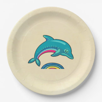 Aqua Green Dolphin Curved Over Rainbow Water 9 Inch Paper Plate