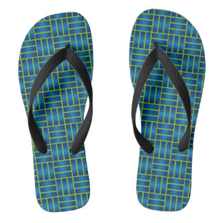 Aqua & Green Geometric Repeat Pattern Flip Flops