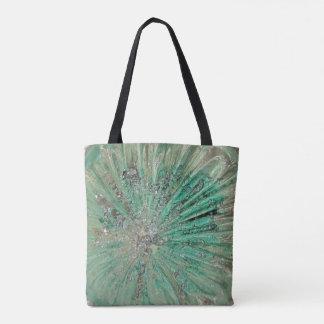Aqua Green Ice Cave Exploding Fortress Art Glass Tote Bag