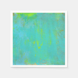 Aqua Green, Lime and Brown Ochre Grunge Abstract Disposable Napkins