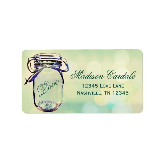 Aqua Green Mason Jar Wedding Return Address Labels